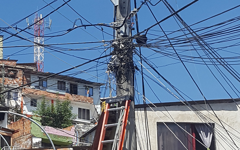 wires on a telegraph pole