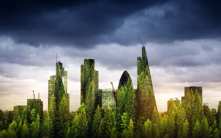 London cityscape with green leaf overlay