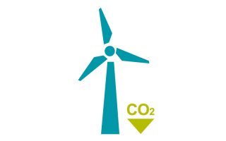 Blue wind turbine with green CO2 downward arrow