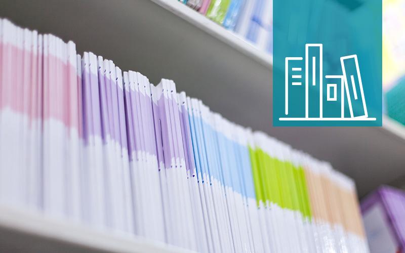 Image of books on bookshelves