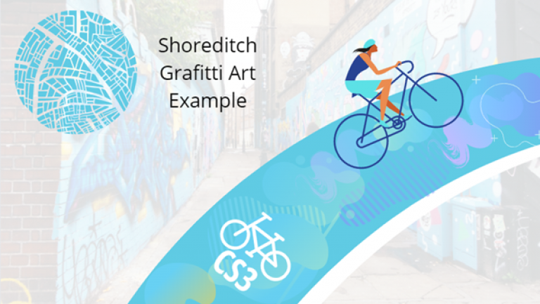 Figure 2: Painted Paths: Mock up of the paths in the area of Shoreditch where graffiti art is prominent and may be the unique art style communities choose for the cycle paths, to link to the area.
