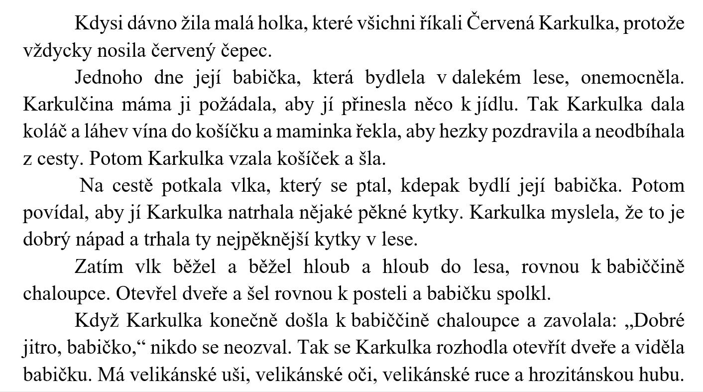 text written in Czech