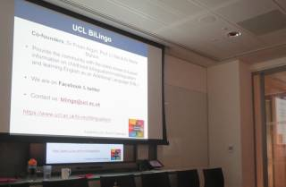 BiLingo presentation on a screen