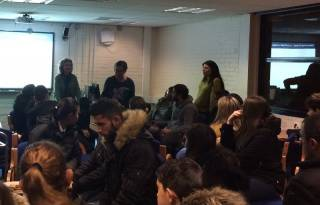 Merle Mahon giving talk at Greig Academy