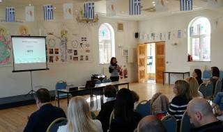 a talk at the St Panteleimon Hellenic College in Harrow