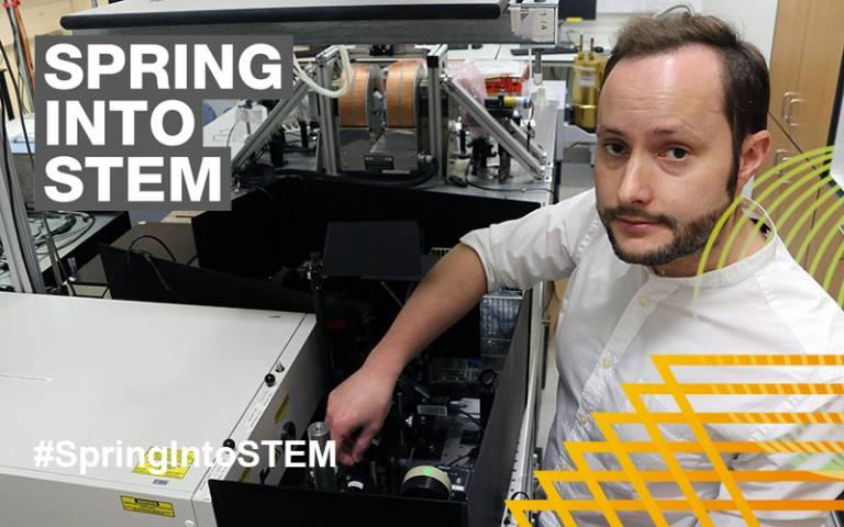 John Hales in laboratory Spring into STEM overlaid