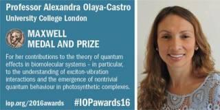 Alexandra Olyaya-Castro receives 2016 award from Institute of Physics
