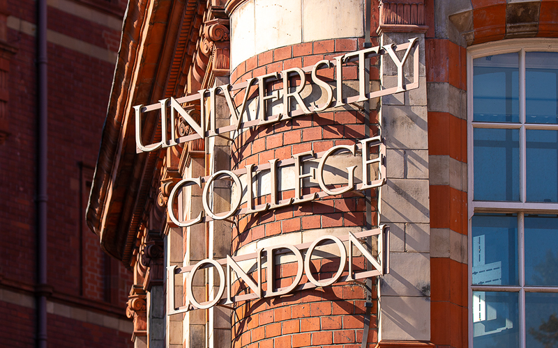 University College London Sign on Cruciform Building