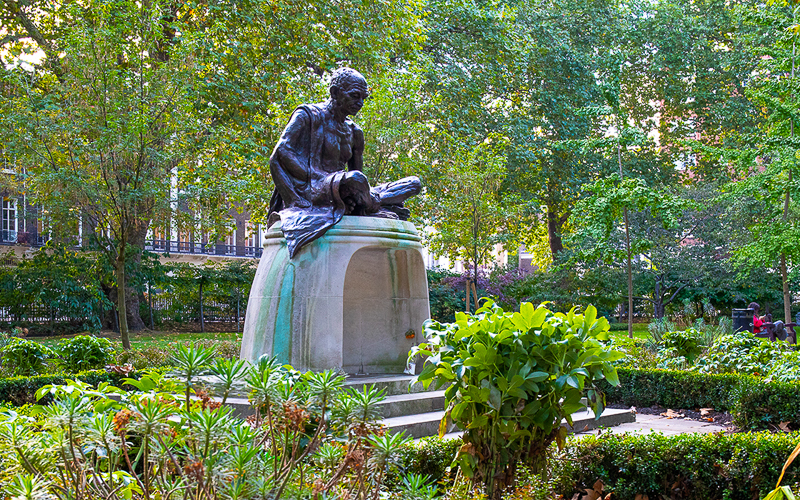 statue of thinker in park near UCL London