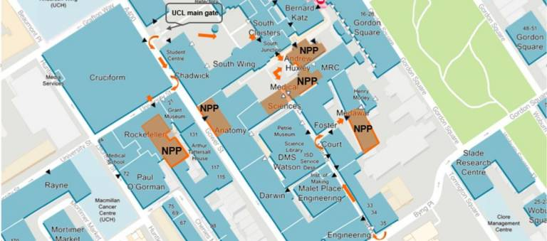 Map picturing NPP buildings location