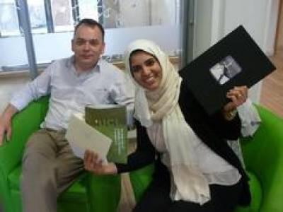 Dr Lamy Al-Haj celebrating after viva