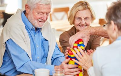 older couple with dementia blocks