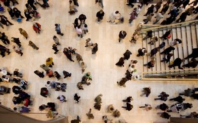 multiple people in large open area