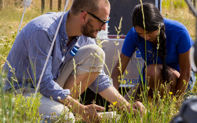 man and woman ecology researchers in a field