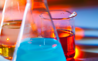 colourful beakers in lab