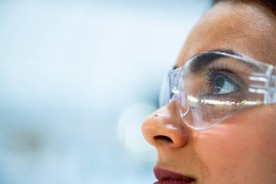 woman with lab glasses on