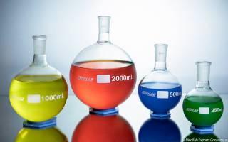 colourful liquids in glass beakers