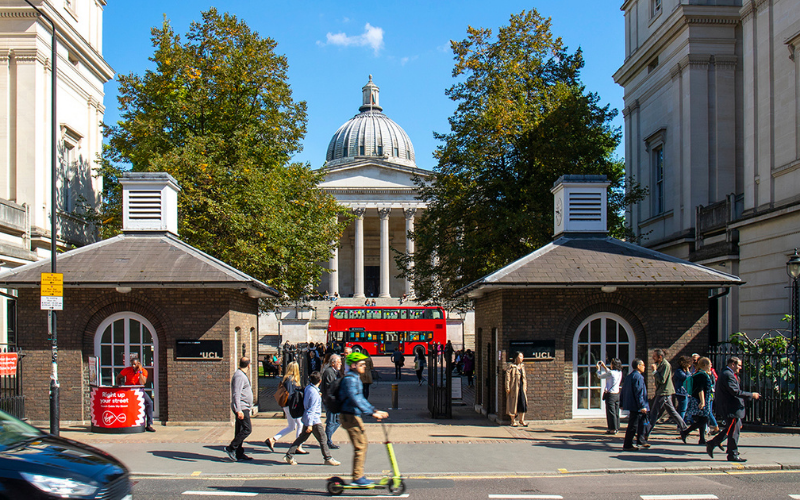 UCL Portico Building on Gower Street with Red bus in front