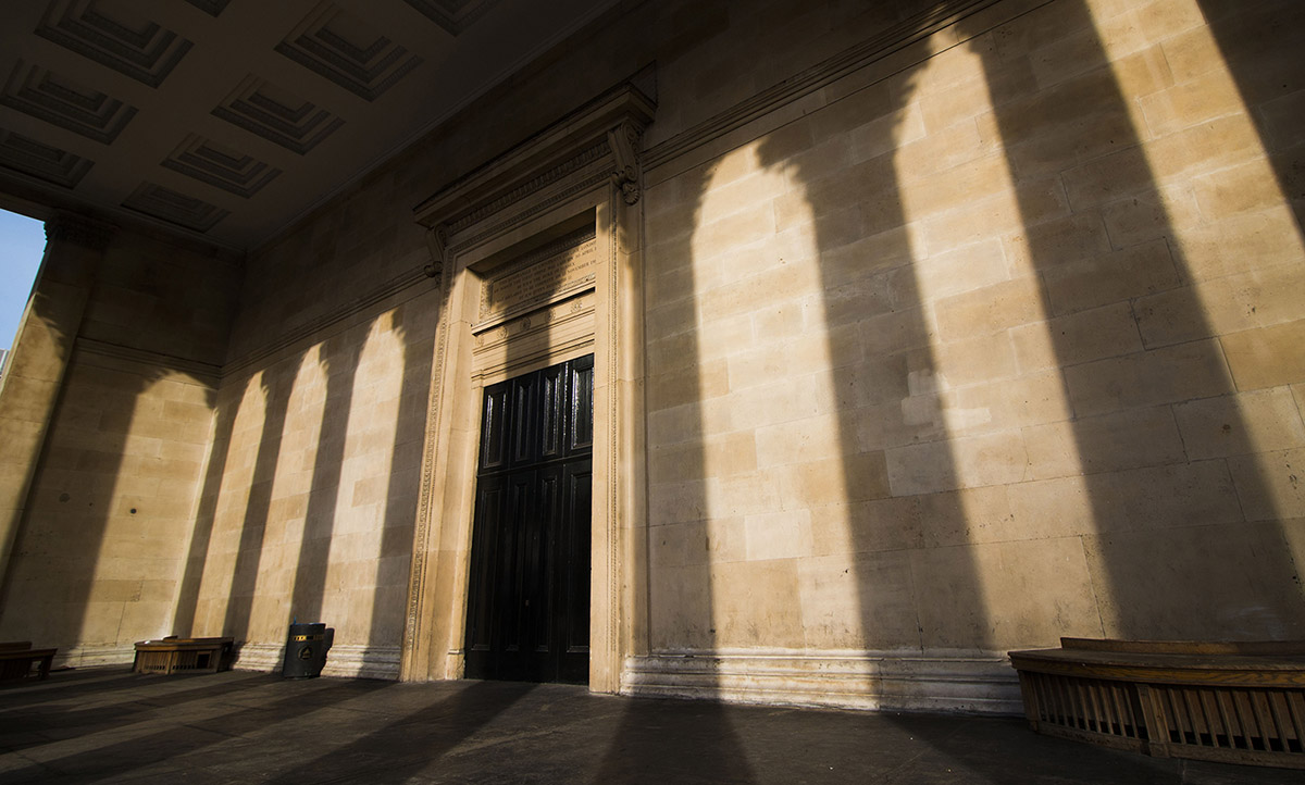 Shadows cast by the collumns under the UCL portico