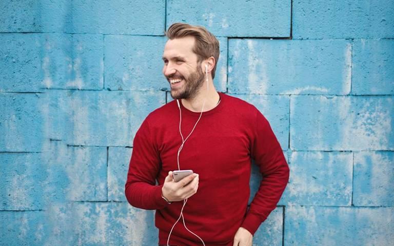 Man listening to audiobook