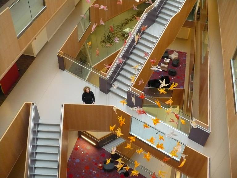 Annie Cattrell with her installation '0 to 10,000,000' in the University of Oxford's Biochemistry building