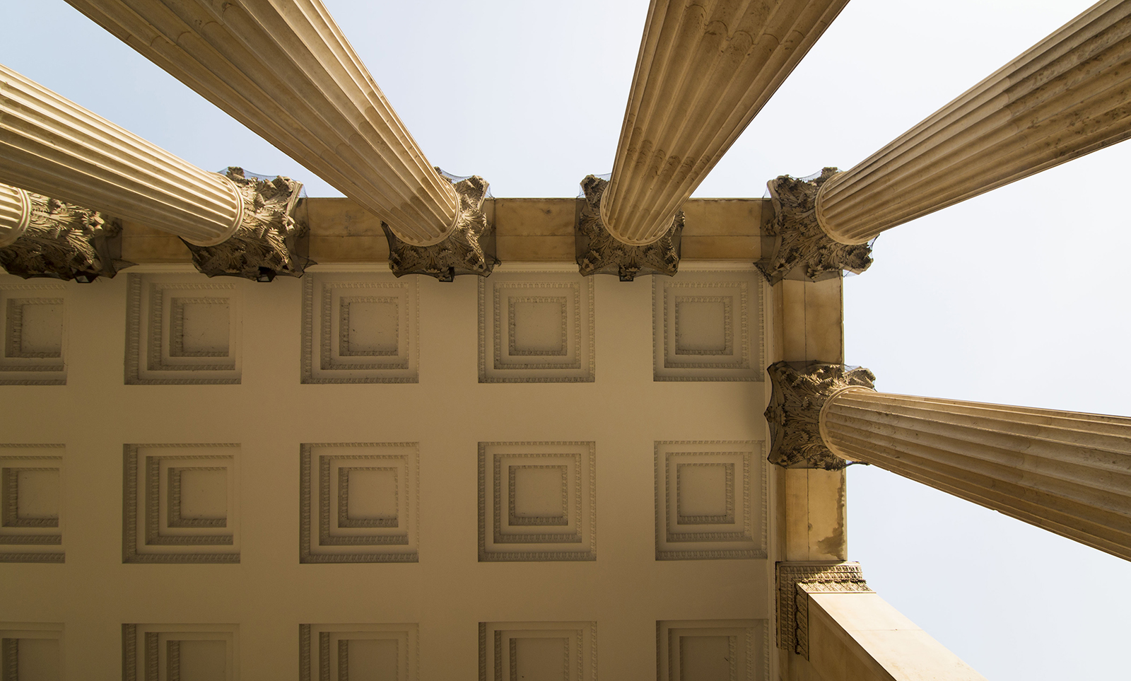 Looking up at the portico