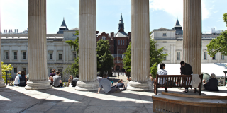 A view looking out from the UCL Quad