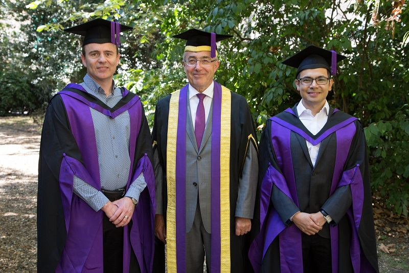 DeepMind co-founders Demis Hassabis and Shane Legg with UCL President & Provost Michael Arthur