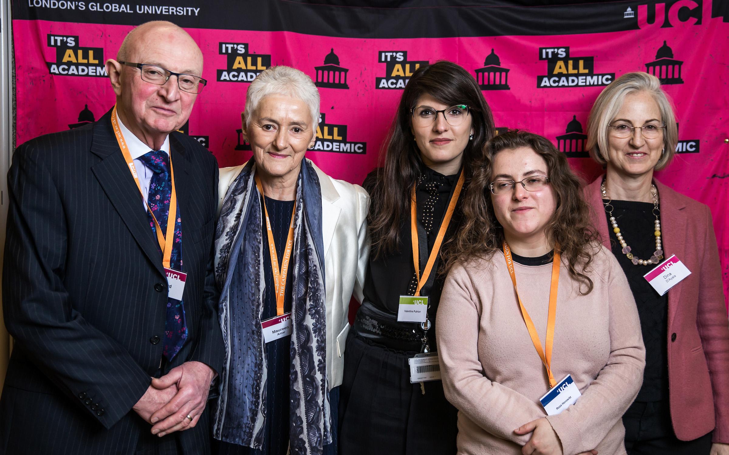 PhD Student Valentina Putrino with Maureen Amar, Richard Jenkins and Professor Dina D'Ayala at the UCL Scholarships and Bursaries Reception 2017