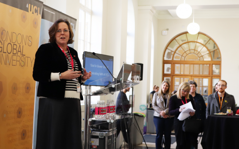 UCL Interfaith Reception | Lori Houlihan giving her address to guests