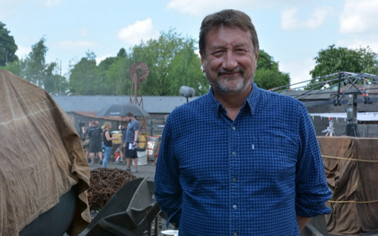 Steven Knight on set