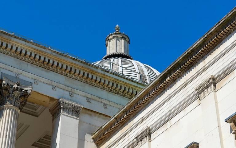 Portico at UCL's Bloomsbury campus.