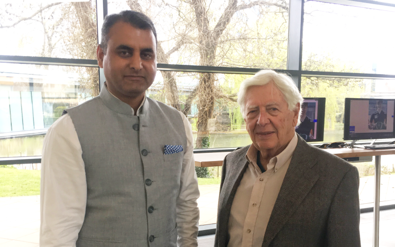 Stephen Rubin with scholarship student Prasoon Sharma