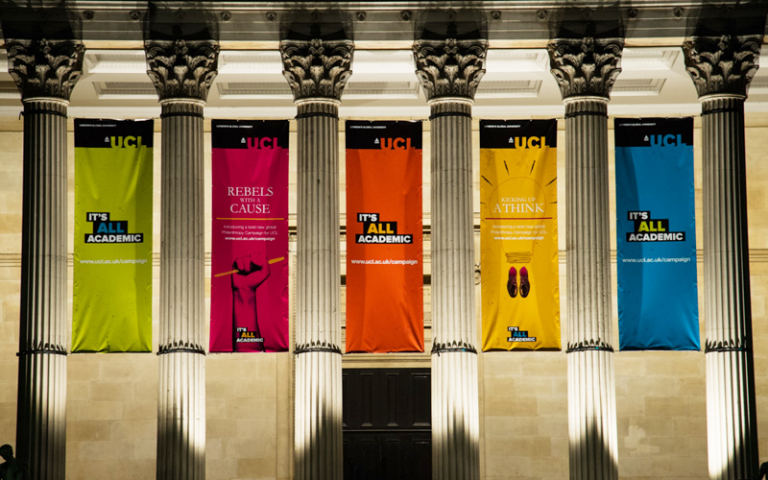 UCL Wilkins Building decorated with It's All Academic flags