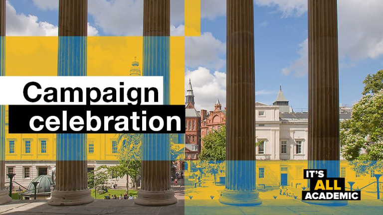 Campaign graphic showing text against UCL Main Quad
