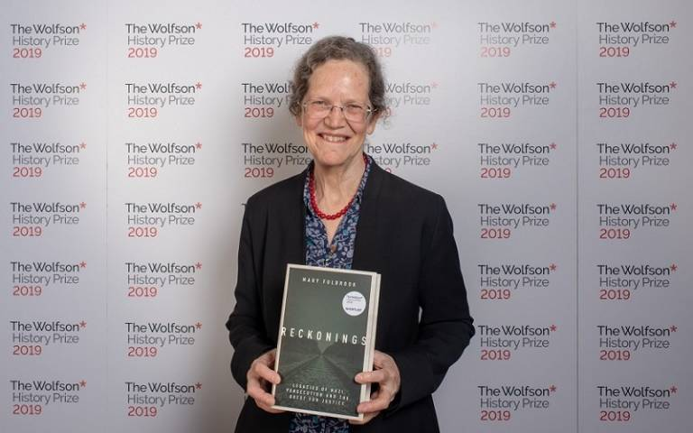 Mary Fulbrook with her book and Wolfson branding