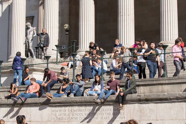 UCL Quad and students
