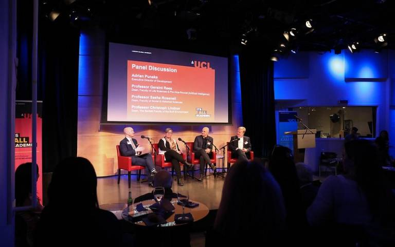 A Q&A panel at the New York alumni and friends reception