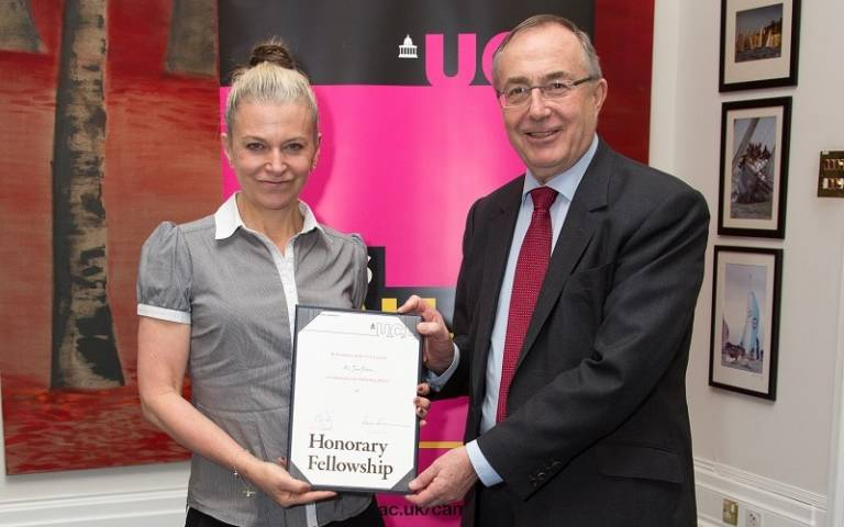 Jane Fallon receives an Honorary Fellowship from UCL President and Provost, Professor Michael Arthur