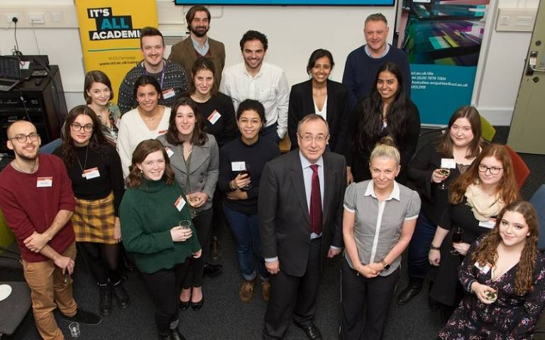 Jane with UCL President and Provost, Professor Michael Arthur, and students of the MA Publishing programme at UCL