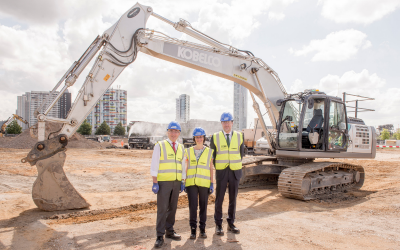 UCL East groundbreaking with UCL Provost Professor Michael Arthur, Academic Director Paola Lettieri and UCL Estates Kevin Argent