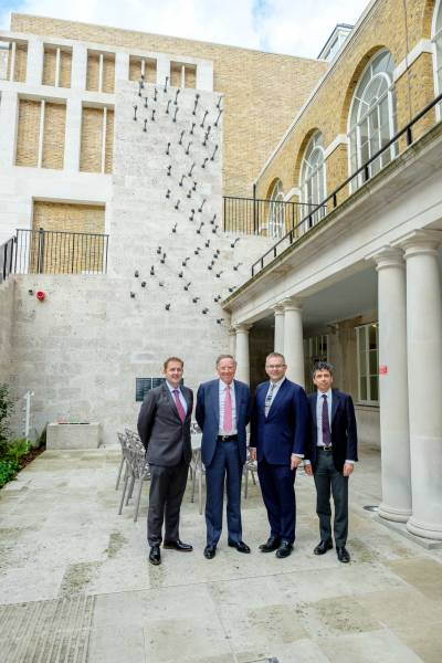 Sir Peter Wood CBE at the UCL Donor Wall with Mark Emberton, Tariq Enver and Mark Linch