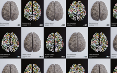 Brain images made from coins and carrier bags
