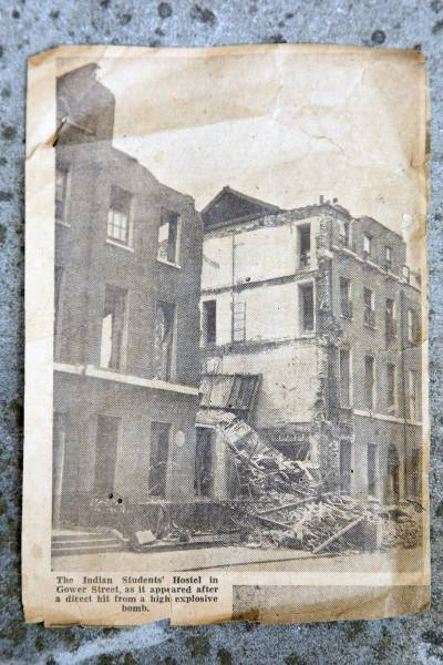 Newspaper clipping from bombing of 112 Gower Street