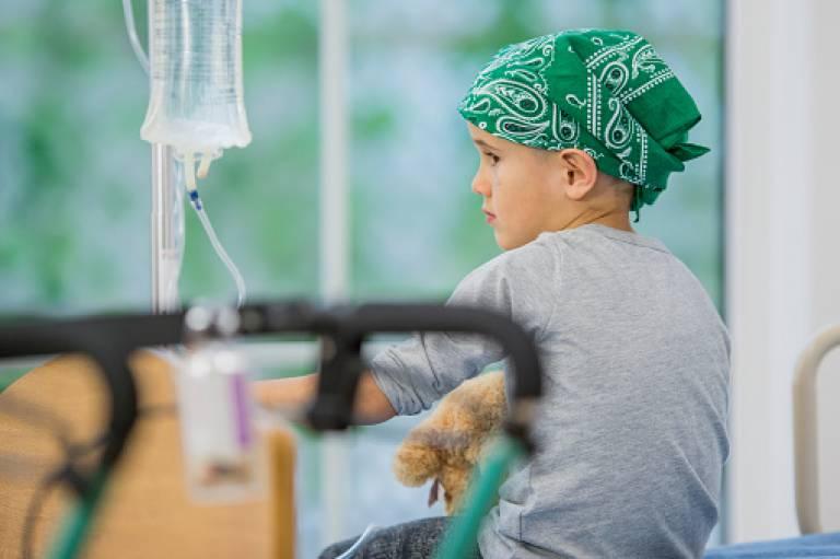 Child receiving leukaemia treatment