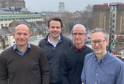 Marc Mansour, Jack Bartram, Own Williams and David O'Connor group photo at UCL Cancer Institute