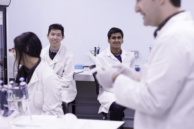 UCL students in laboratory
