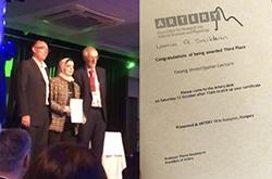 Images of Lamia winning award and the award