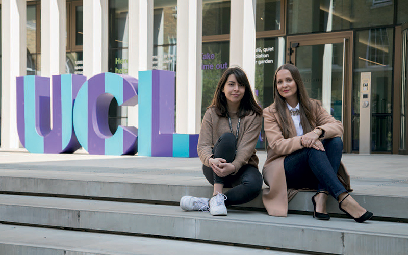 two women with ucl logo