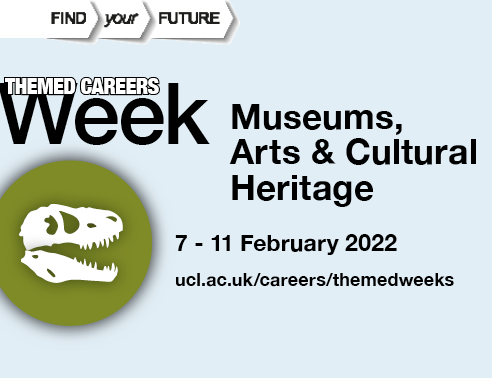 Graphic image of a T-Rex skull, accompanied by text reading Museums, Arts & Cultural Heritage, 7-11 February 2022